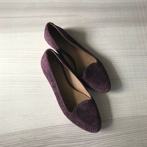 Plum and metallic gently worn flats